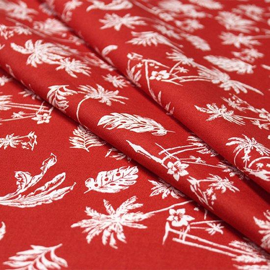 【綿100%・コットン】 赤の綿生地 白のハワイアンリーフ柄 fab-ct012RD【4yまでメール便可】