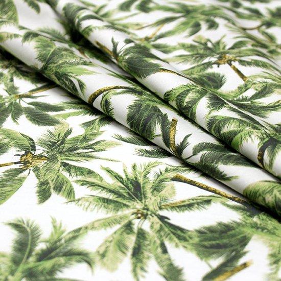 【綿100%・コットン】 白の綿生地 緑のパームツリー柄 fab-ct411GN【4yまでメール便可】