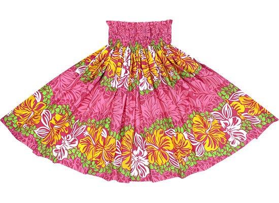 【蔵出し】ピンクのパウスカート ハイビスカス・プルメリア・モンステラ柄 spau-2453Pi-re