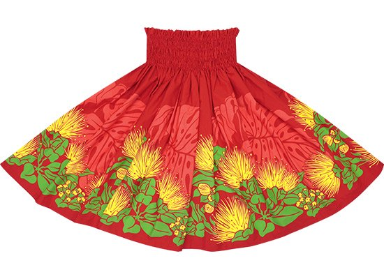 【蔵出し】赤のパウスカート レフア・モンステラ柄 spau-re-2589RD【TS】
