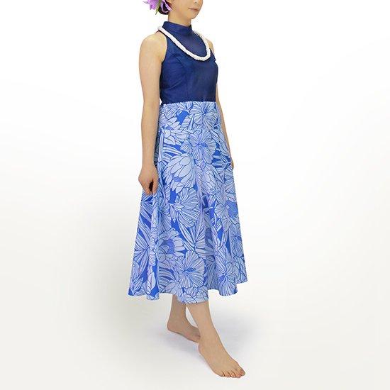 3way スカート ワンピース プロテア・ハイビスカス柄 青と水色 01004-2743BLAQ