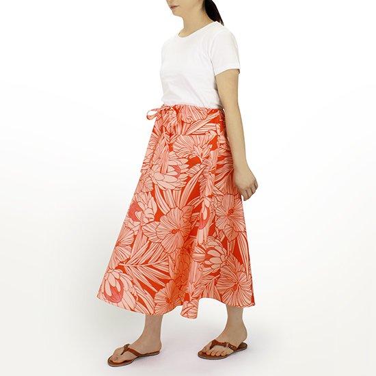 3way スカート ワンピース プロテア・ハイビスカス柄 赤 01004-2743RD