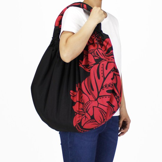 黒と赤のビッグバルーンレッスンバッグ プルメリア・モンステラ柄 bblb-2765BKRD