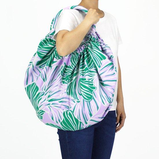 緑と紫のビッグバルーンレッスンバッグ ハイビスカス大柄 bblb-2578GNPP