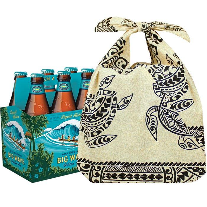 【ビール6本セット専用】 ハワイアン柄マチ付きあずま袋 ラッピング