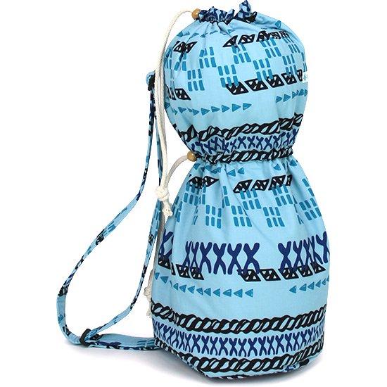 出し入れしやすい 青のイプヘケケース ロープタイプ タパ・ボーダー柄 Sサイズ ipuhekecase-rope-2614BL-S イプヘケバッグ 【既製品】