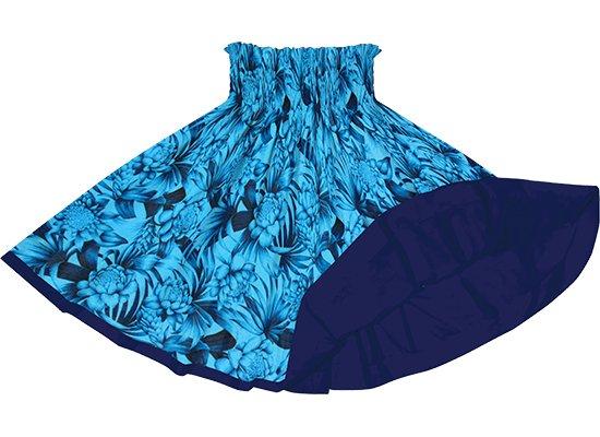 【リバーシブルパウスカート】青のトーチジンジャー・ヤシ柄 ネイビーのリバーシブル rvpau-2746BL