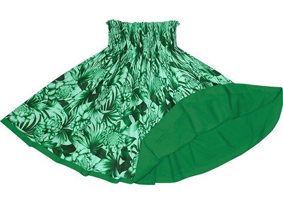 【リバーシブルパウスカート】緑のトーチジンジャー・ヤシ柄 ビリジアンのリバーシブル rvpau-2746GN