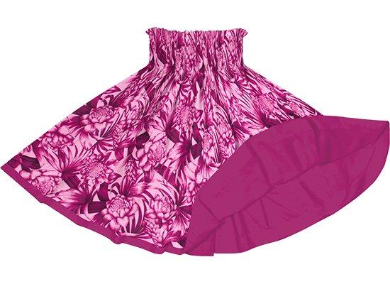 【リバーシブルパウスカート】ピンクのトーチジンジャー・ヤシ柄 フューシャのリバーシブル rvpau-2746Pi