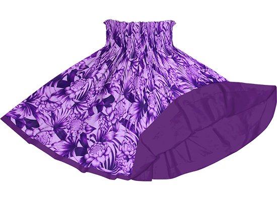 【リバーシブルパウスカート】紫のトーチジンジャー・ヤシ柄 ブライトパープルのリバーシブル rvpau-2746PP