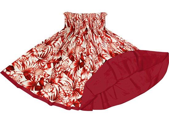 【リバーシブルパウスカート】赤のトーチジンジャー・ヤシ柄 ガーネットのリバーシブル rvpau-2746RD