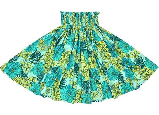 水色のパウスカート ハイビスカス・リリー・パラパライ柄 Sprm-2554AQ 75cm 4本ゴム 【既製品】