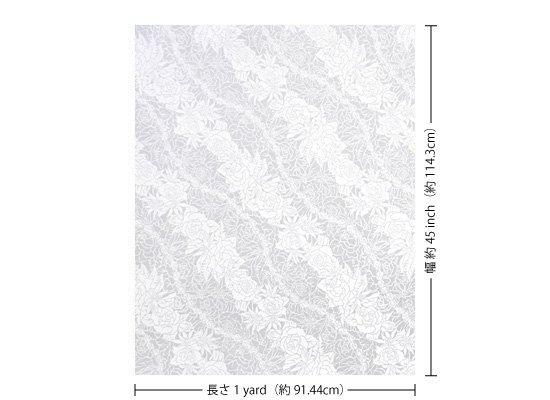 【カット生地】(1ヤード)白のハワイアンファブリック ロケラニローズ・リリー柄 fab1y-2519WH 【4yまでメール便可】
