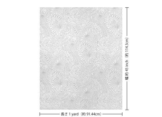 【カット生地】(1ヤード)白のハワイアンファブリック モンステラ・タパ柄 fab1y-2707WH 【4yまでメール便可】