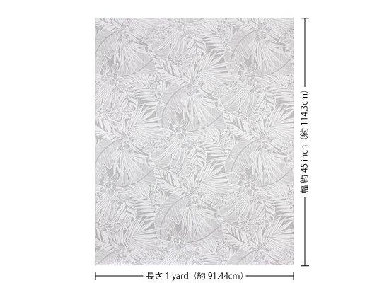 【カット生地】(1ヤード)白のハワイアンファブリック オーキッド・ヤシ・バナナリーフ柄 fab-1y-2715WH 【4yまでメール便可】