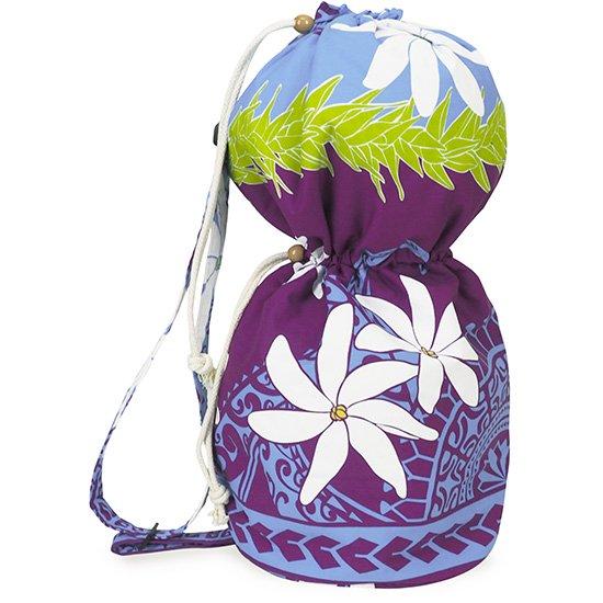 出し入れしやすい 紫と水色のイプヘケケース ロープタイプ ティアレ・カヒコ柄 Mサイズ inst-ipuhekecase-rope-2675AQ-M イプヘケバッグ 【既製品】