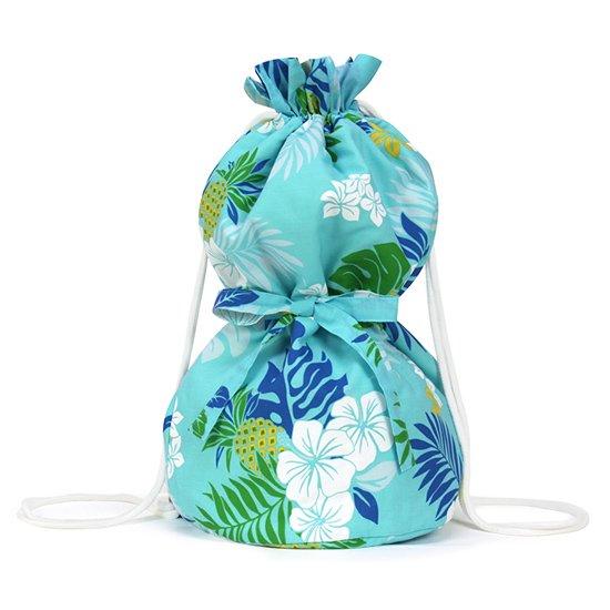 水色のイプケース リボンタイプ ハイビスカス・パイナップル・ヤシ柄 ipucase-rbn-2565AQ イプバッグ 【既製品】