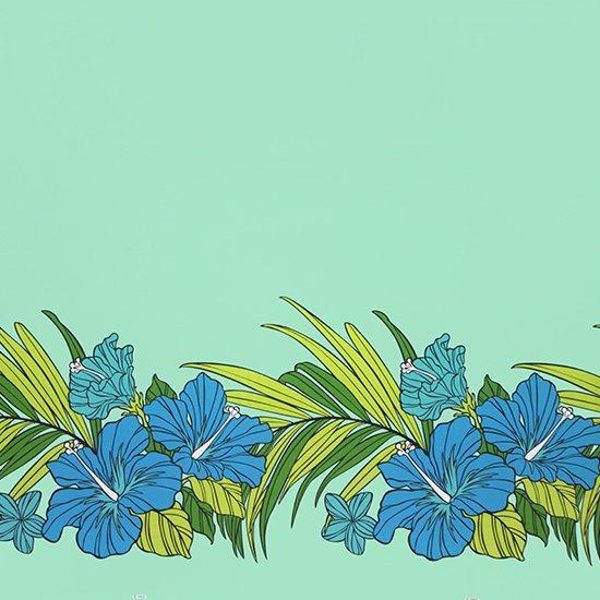 水色のハワイアンファブリック ハイビスカス・ヤシ柄 fab-2698AQ 【4yまでメール便可】【NPS】