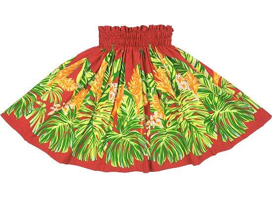 【ケイキ(子供)用】 赤のパウスカート モンステラ・ジンジャー柄 kpau-rm-2672RD 60cm 3本ゴム ロック仕上げ 【既製品】