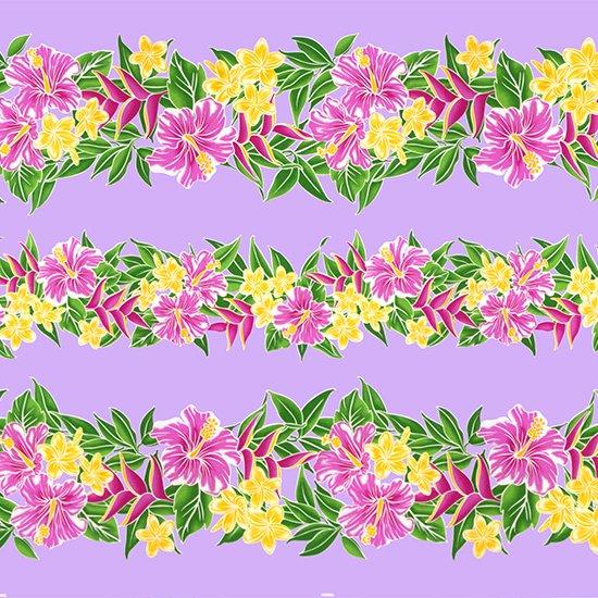 紫のハワイアンファブリック ハイビスカス・プルメリア・ボーダー柄 fab-2790PP 【4yまでメール便可】