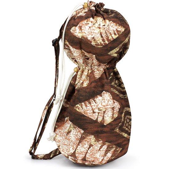 出し入れしやすい 茶色のイプヘケケース ロープタイプ リーフ・カヒコ柄 Mサイズ inst-ipuhekecase-rope-2298BR-M イプヘケバッグ 【既製品】