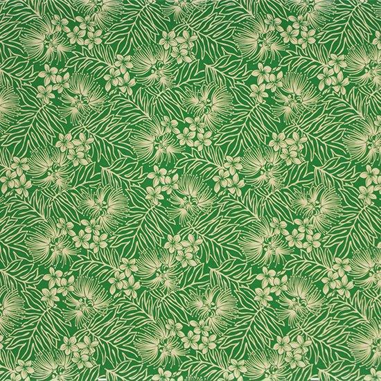 緑のハワイアンファブリック レフア・プルメリア柄 fab-2791GN 【4yまでメール便可】