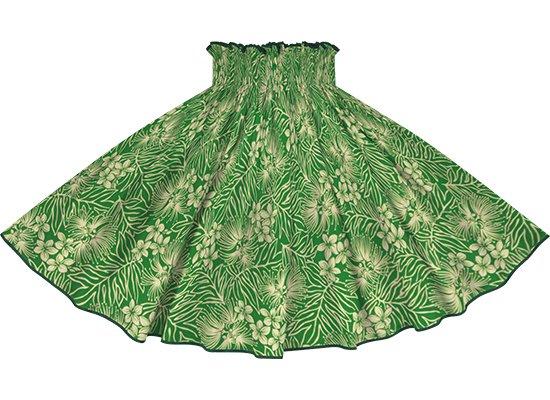 【パイピングパウスカート】緑のレフア・プルメリア柄 ビビッドグリーンのパイピング pipau-2791GN