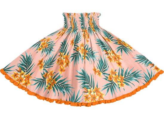 【リヒリヒパウスカート】 ピンクのプルメリア・ヤシ柄とビビッドオレンジの無地 lhpau-2792Pi