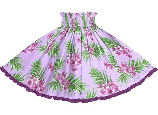【リヒリヒパウスカート】 紫のプルメリア・ヤシ柄とブライトパープルの無地 lhpau-2792PP