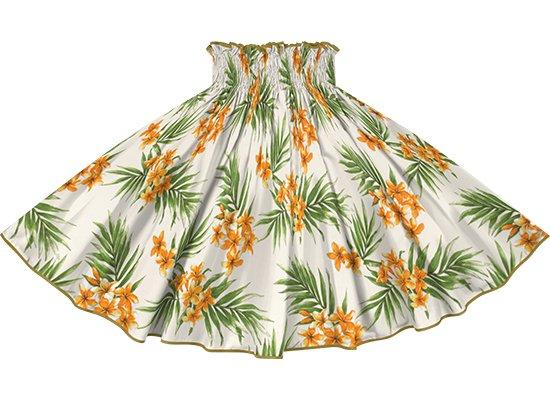 【パイピングパウスカート】クリーム色のプルメリア・ヤシ柄 サンドカーキのパイピング pipau-2792CR