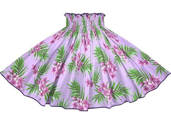 【パイピングパウスカート】紫のレフア・プルメリア柄 グレープのパイピング pipau-2792PP
