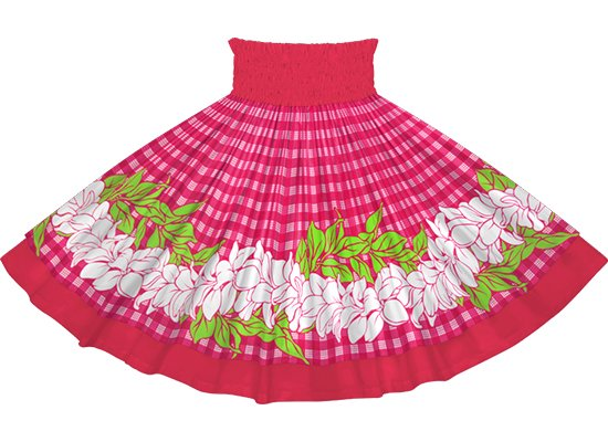 【ダブルパウスカート】ピンクのパラカ・プルメリアボーダー柄とラズベリーの無地 dpau-rm-2722Pi 75cm 4本ゴム【既製品】