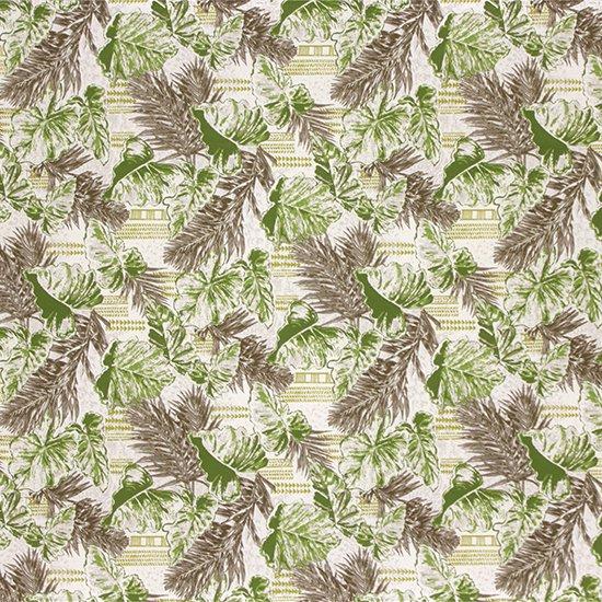 緑のハワイアンファブリック タロ・ヤシ・カヒコ柄 fab-2793GN 【4yまでメール便可】