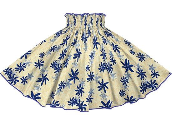 【パイピングパウスカート】クリーム色のティアレ柄 オリエンタルブルーのパイピング pipau-2794CR