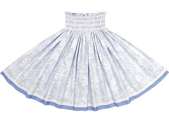 【リバーシブルパウスカート】白のティアレ柄 ライトスカイブルーの無地 rvpau-2794WH