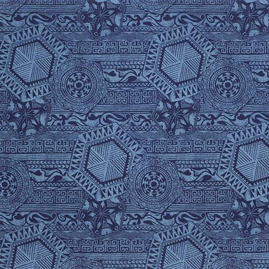 青のハワイアンファブリック カヒコ柄 fab-2795BL 【4yまでメール便可】