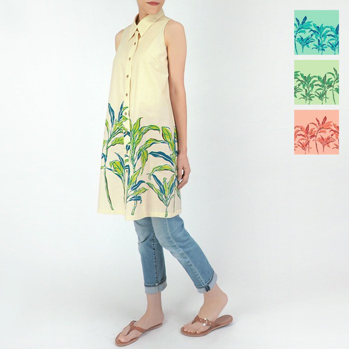 ノースリーブシャツ 襟付きタイプ ティリーフ柄 fswr-41031-rm-2580 9号 11号 13号 【既製品】