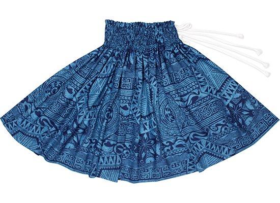 【紐パウスカート】 青のカヒコ柄 hmpau-rm-2795BL 75cm 3本紐【既製品】