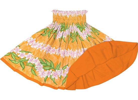 【リバーシブルパウスカート】オレンジのプルメリア・ボーダー柄 ビビッドオレンジのリバーシブル rvpau-2796OR
