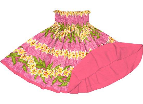 【リバーシブルパウスカート】ピンクのプルメリア・ボーダー柄 シュガーコーラルのリバーシブル rvpau-2796Pi
