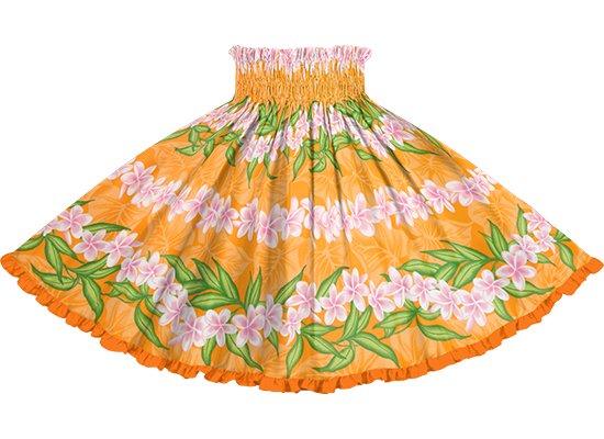 【リヒリヒパウスカート】 オレンジのプルメリア・ボーダー柄 ビビッドオレンジのリバーシブル lhpau-2796OR