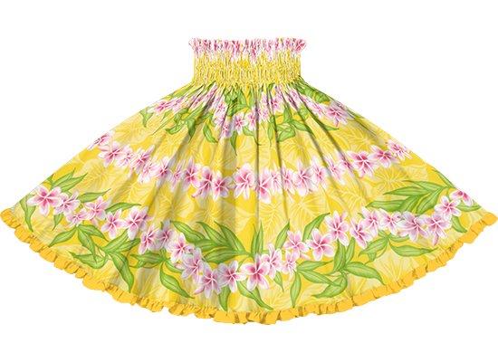 【リヒリヒパウスカート】 黄色のプルメリア・ボーダー柄 ゴールドのリバーシブル lhpau-2796YW