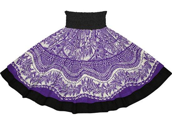 【ダブルパウスカート】紫のカヒコ・リーフ柄とブラックの無地 dpau-2797PP