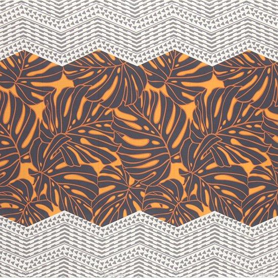 オレンジとグレーのハワイアンファブリック モンステラ・カヒコ柄 fab-2798ORGY 【4yまでメール便可】