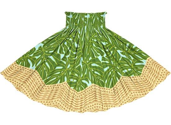 水色と緑のパウスカート モンステラ・カヒコ柄 spau-2798AQGN