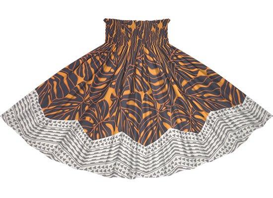オレンジとグレーのパウスカート モンステラ・カヒコ柄 spau-2798ORGY