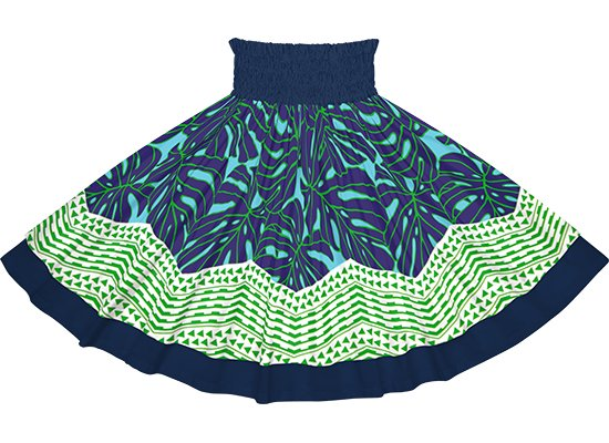 【ダブルパウスカート】水色と青のモンステラ・カヒコ柄とネイビーの無地 dpau-2798AQBL