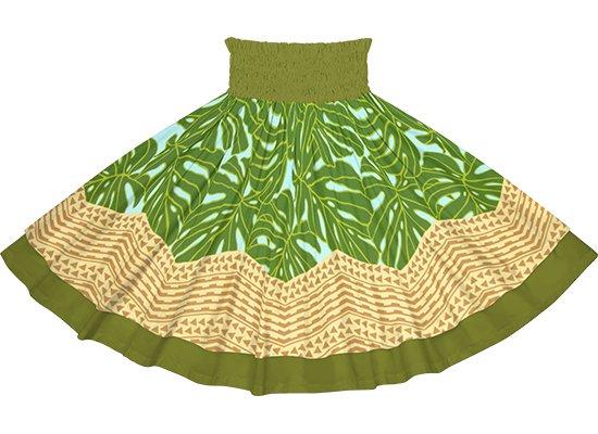 【ダブルパウスカート】水色と緑のモンステラ・カヒコ柄とオリーブの無地 dpau-2798AQGN