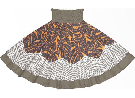 【ダブルパウスカート】オレンジと黒のモンステラ・カヒコ柄とチャコールグレーの無地 dpau-2798ORBK