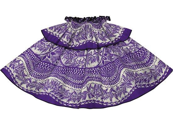 【モーハラパウスカート】 紫のカヒコ・リーフ柄にブラックのパイピング mhpau-2797PP